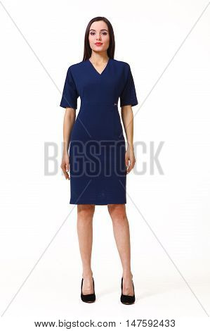 woman with straight hair style in blue short sleeve dress high heels shoes full length body portrait standing isolated on white