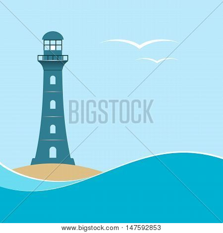 Lighthouse on sea wave background. Seascape. Vector illustration.