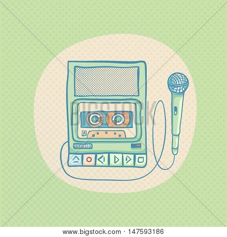Handheld tape recorder with microphone. Hand drawn retro illustration with halftone. Suitable for banner, ad, t-shirt design. Vintage design element