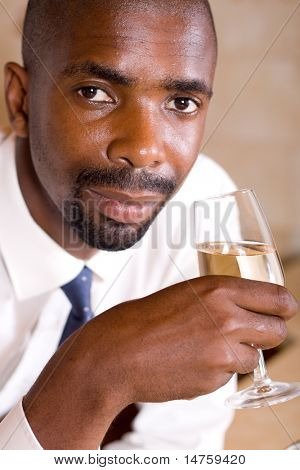 african business man with wine