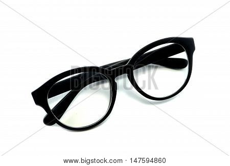 isolated Close up Black Glasses on white background