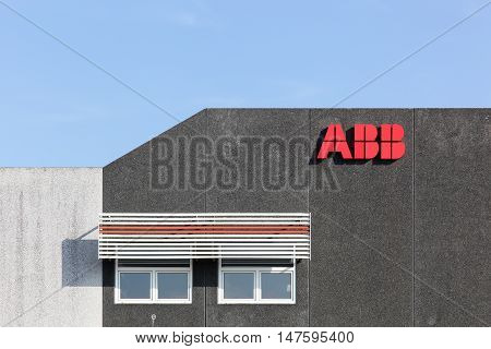 Fredericia, Denmark - September 10, 2016: ABB is a Swedish-Swiss multinational corporation headquartered in Zurich, Switzerland, operating mainly in robotics and the power and automation technology areas