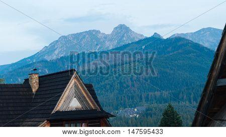 Guesthouse and mountain landscape horizon in Zakopane