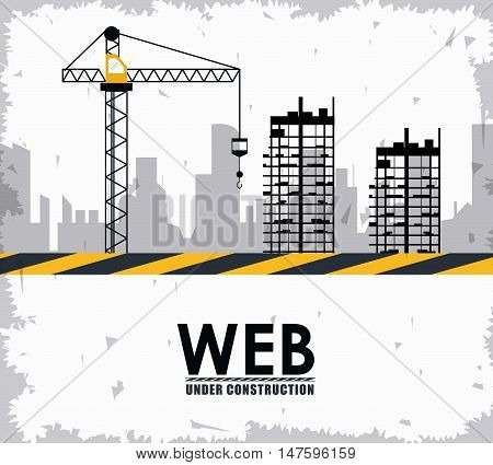 Crane barrier and building icon. Under construction and repair theme. Isolated and grunge design. Vector illustration