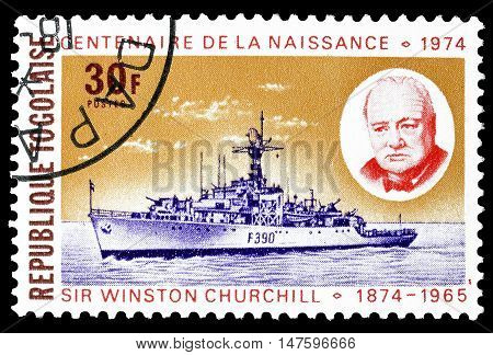 TOGO - CIRCA 1974 : Cancelled postage stamp printed by Togo, that shows Churchill and battle ship.