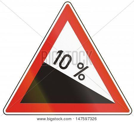 Hungarian Warning Road Sign - Steep Hill Downward