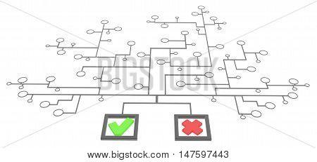 Choice mark box link network 3d illustration isolated horizontal