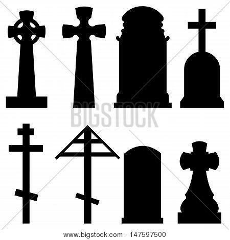 Vector Set Of Silhouette Tombstones