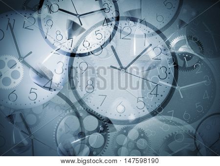Background with clocks that mark many times