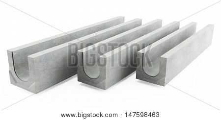Concrete drainage tray on white background. 3D rendering