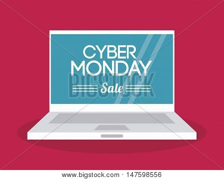 Laptop icon. Cyber Monday ecommerce and market theme. Colorful design. Vector illustration