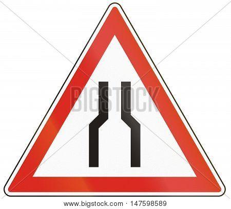 Hungarian Warning Road Sign - Road Narrows On Both Sides