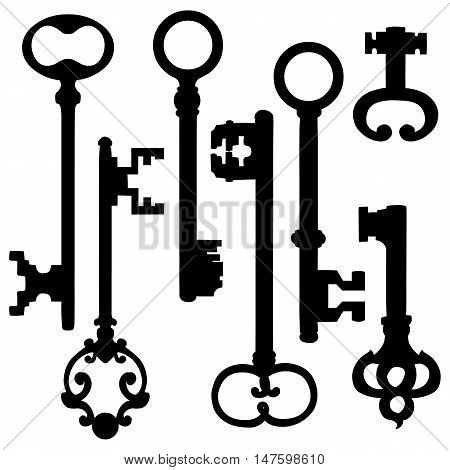 Vector Set Of Silhouette Antique Keys
