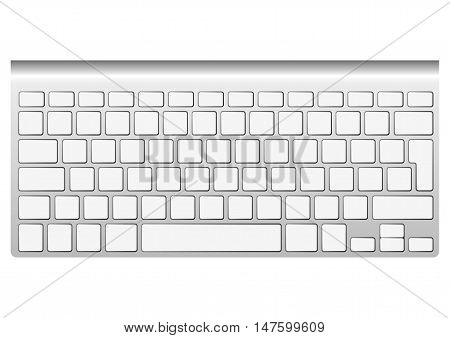 Blank aluminum keyboard isolated on white. Vector illustration. You can put your own characters in blank keys