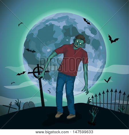 Halloween night moon zombi zombie evil spirits monster beast skeleton going attack invasion hipster bat graveyard .Vector vertical closeup view front full height illustration poster sign signboard.