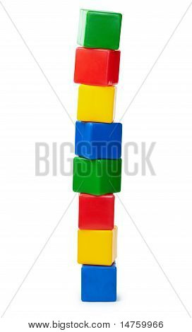 Tower Of Color Cubes Isolated On White