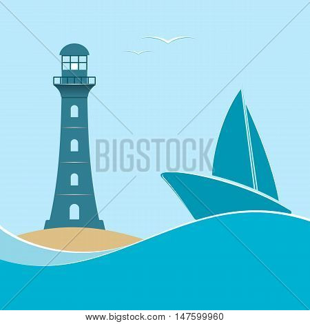 Nautical life.Lighthouse and sailboat on a navy background. Vector illustration.