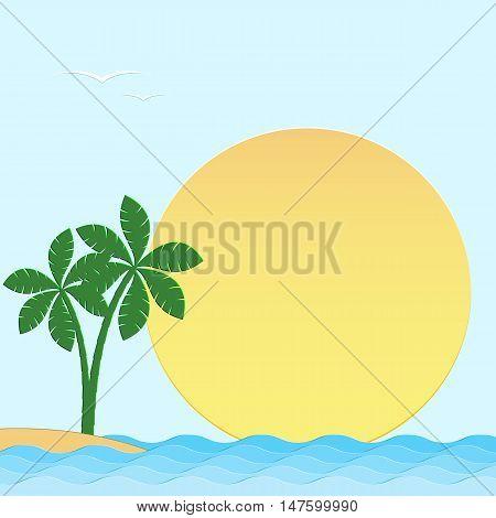 Seascape. Sea sun palm trees island on a blue background. Vector illustration.