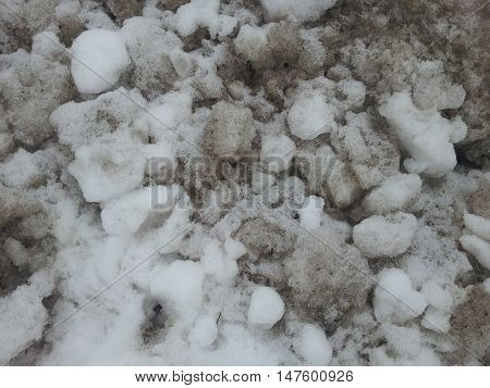 large balls of snow on a snow bank grunge texture