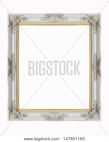 Silver picture frame isolated on white background