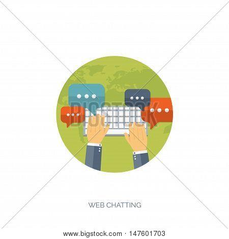 Vector illustration. Flat backgrounds set. Social media, chatting. Global communication. Laptop, computer, loudspeaker. Emailing. Web chat, internet messages. Sms.