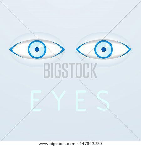 Blue eyes on gray background poster. Vector illustration
