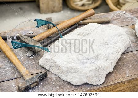 Workplace, Traditional tools sculptor, wood, hammers and chisels for working stone