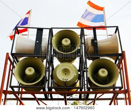 Loudspeaker in Thai temple Bangkok In Thailand