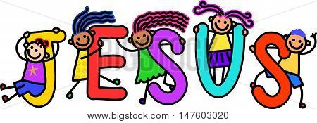 A group of happy stick children climbing over letters of the alphabet that spell out the word JESUS.