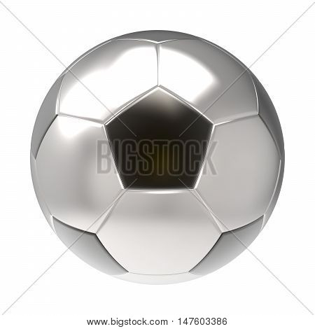 Silver Soccer ball 3D render isolated on white