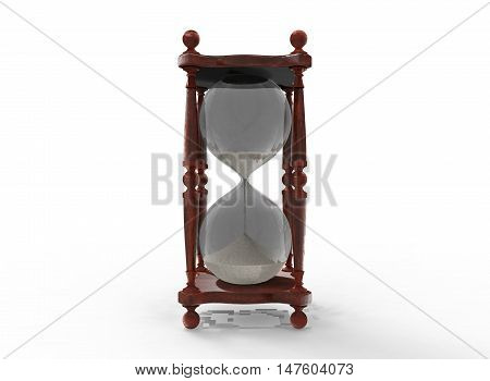 3d illustration of sand clock. white background isolated. icon for game web.