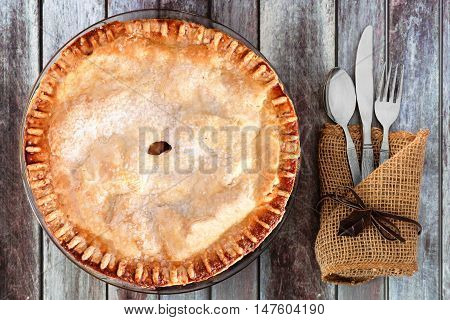 Delicious Autumn Apple Pie, Overhead Table Setting On A Rustic Wood Background