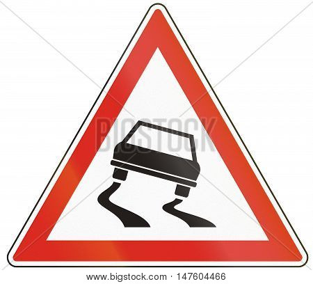 Hungarian Warning Road Sign - Slippery Road