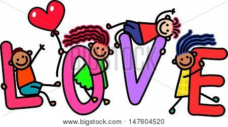 A group of happy stick children climbing over letters of the alphabet that spell out the word LOVE.