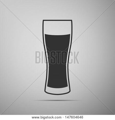 Glass of beer flat icon on grey background. Adobe illustrator