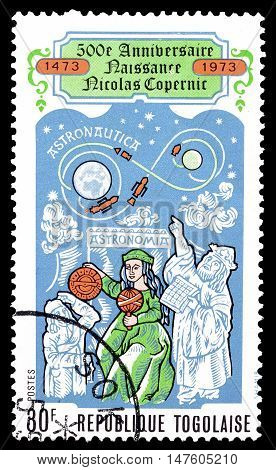 TOGO - CIRCA 1973 : Cancelled postage stamp printed by Togo, that shows Nicolas Copernicus.
