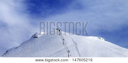 Panoramic View On Ski Slope And Chair-lift.