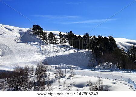 Ski Slope In Sun Day