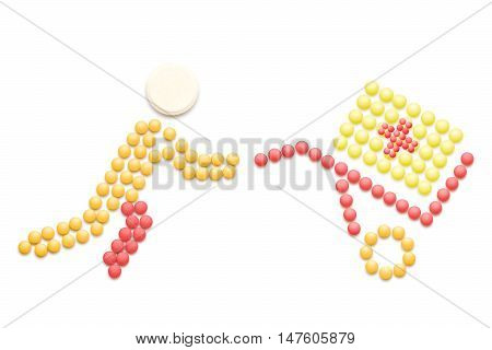 Creative medicine and healthcare concept made of pills drug and medication shopping and delivery isolated on white.