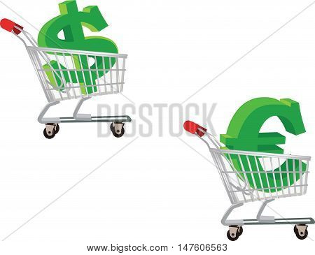 shopping euro dollar spending shopping cart with euro coin and currency symbols dollar