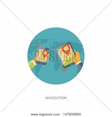 Flat travel background. Summer holidays, vacation. Plane, boat, car traveling. Tourism, trip, journey.