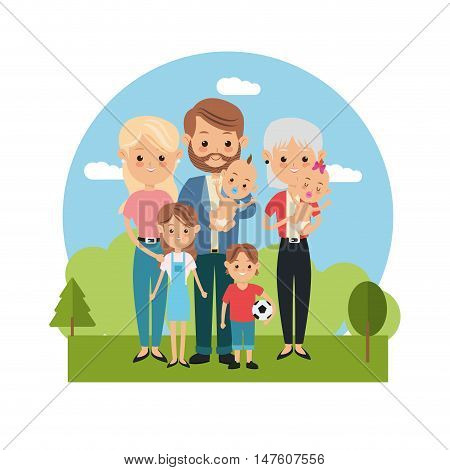 Mother father woman man kids and grandmother icon. Family relationship avatar and generation theme. Colorful design. Vector illustration