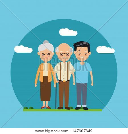 Grandparents and boy icon. Family relationship avatar and generation theme. Colorful design. Vector illustration