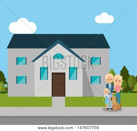 House mother father daughter and dog icon. Home family and real estate theme. Colorful design. Vector illustration
