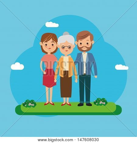 Couple of mother father woman man and grandmother icon. Family relationship avatar and generation theme. Colorful design. Vector illustration