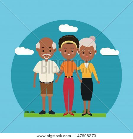 Grandparents and girl icon. Family relationship avatar and generation theme. Colorful design. Vector illustration