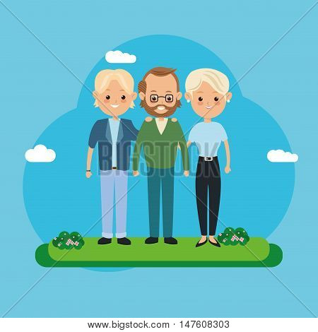 Couple of mother father woman man and son icon. Family relationship avatar and generation theme. Colorful design. Vector illustration