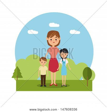 Mother woman and kids icon. Family relationship avatar and generation theme. Colorful design. Vector illustration