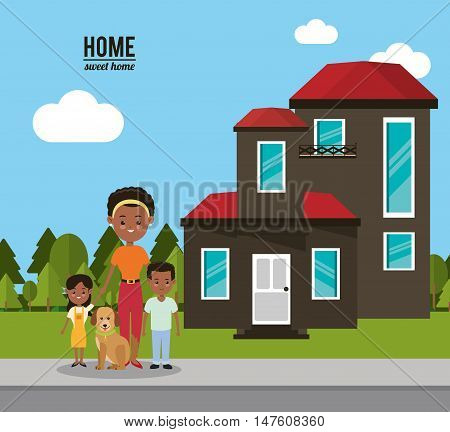 House mother dog and kids icon. Home family and real estate theme. Colorful design. Vector illustration