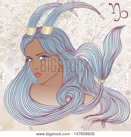 Zodiac. Vector illustration of the astrological sign of Capricorn as a portrait beautiful african american girl with long hair. The illustration on decorative grunge background in retro colors